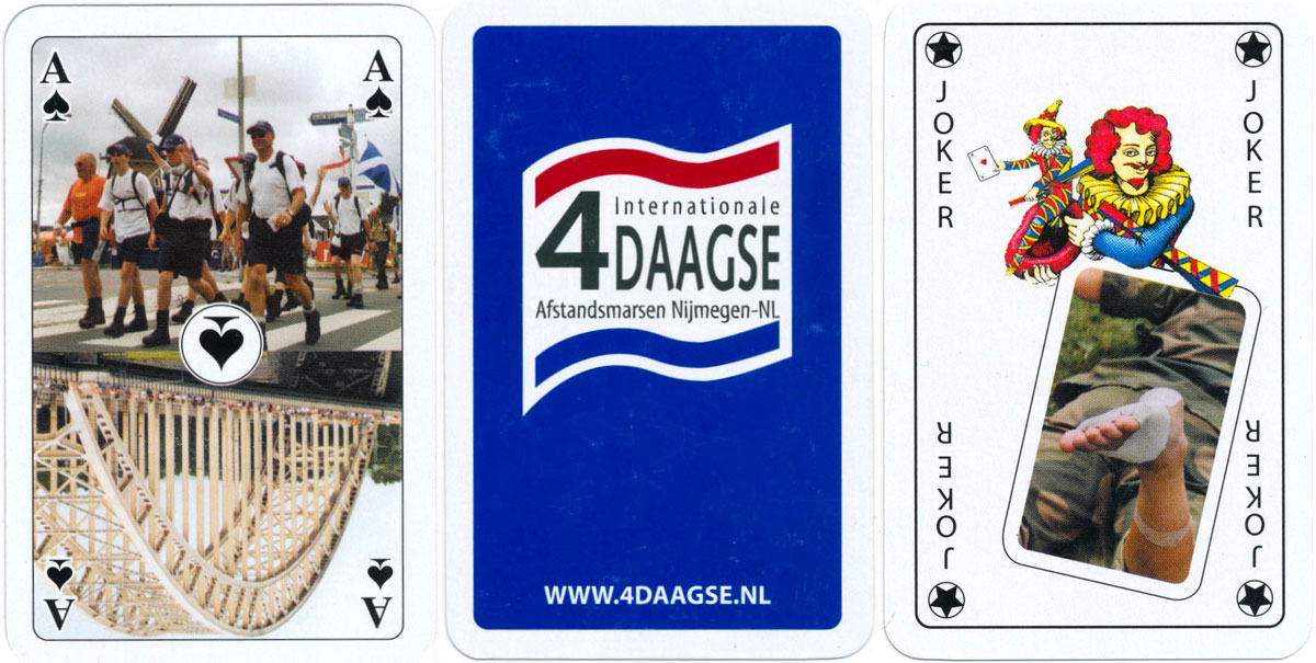 Dutch pattern playing cards promoting the annual International Four Days of Walking Event held in Holland, made in Germany by Nürnberger-Spielkarten-Verlag GmbH, 2016