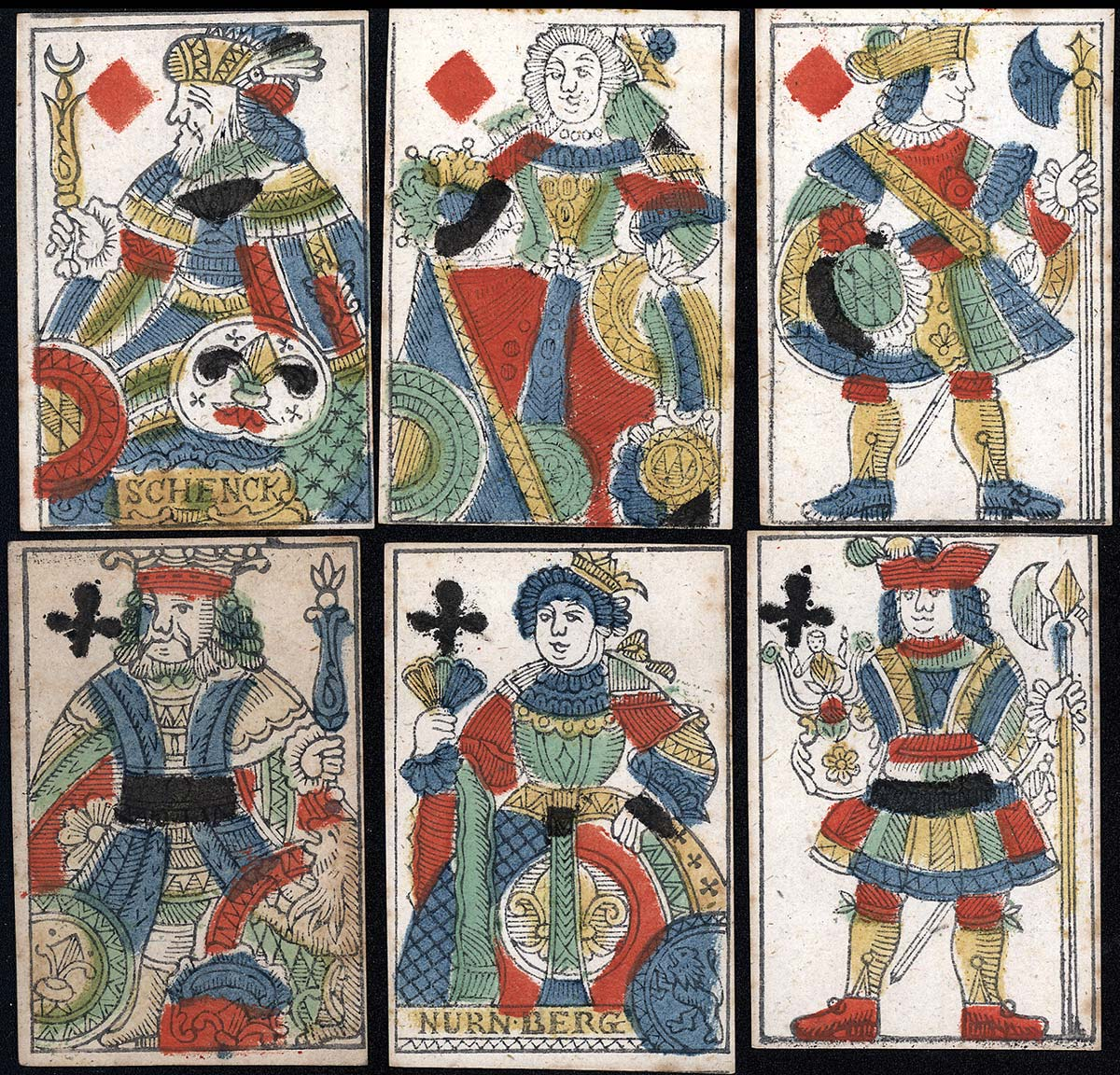 playing cards by I. Schenck, Nuremberg, late XVIIIth century