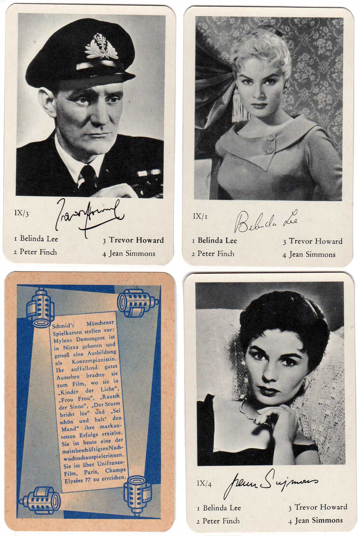Filmstars Quartet card game published by Schmid, Munich, c.1960