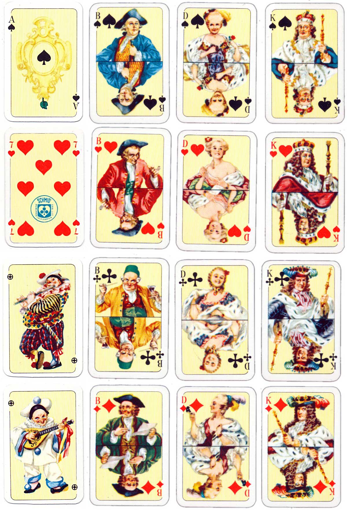 Miniature Patience playing cards published by F. X. Schmid, c.1960