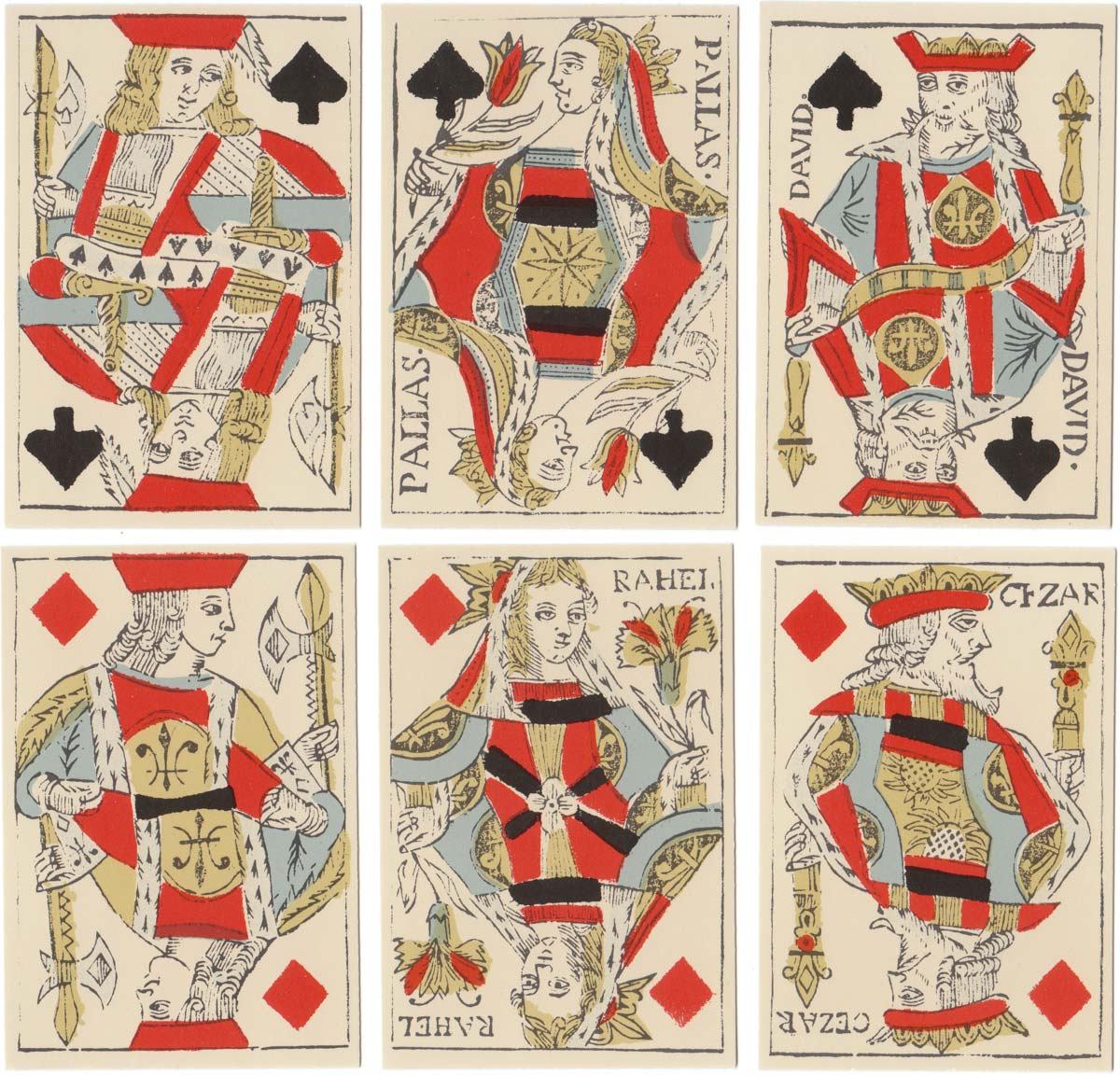 A facsimile of an early 19th century French-suited deck from the collection of F.X. Schmid