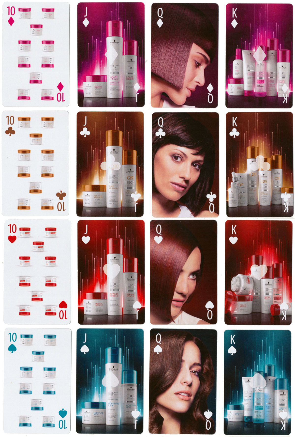 Schwarzkopf BC Bonacure playing cards promoting the ultimate hair perfection