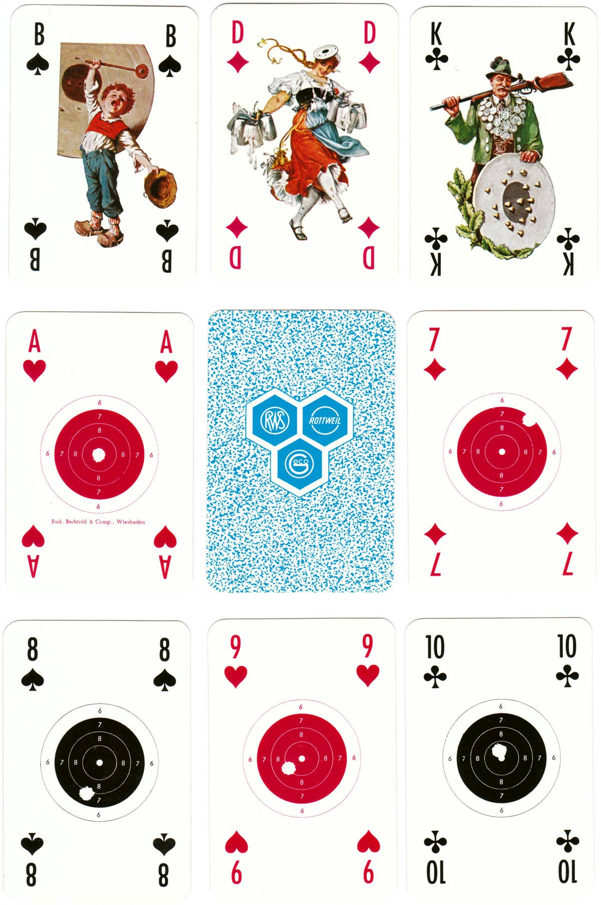 """Spielkarte für Schützen"" deck designed by Karl Heinz Lanz, published by Rudolf Bechtold and Co., c.1966"