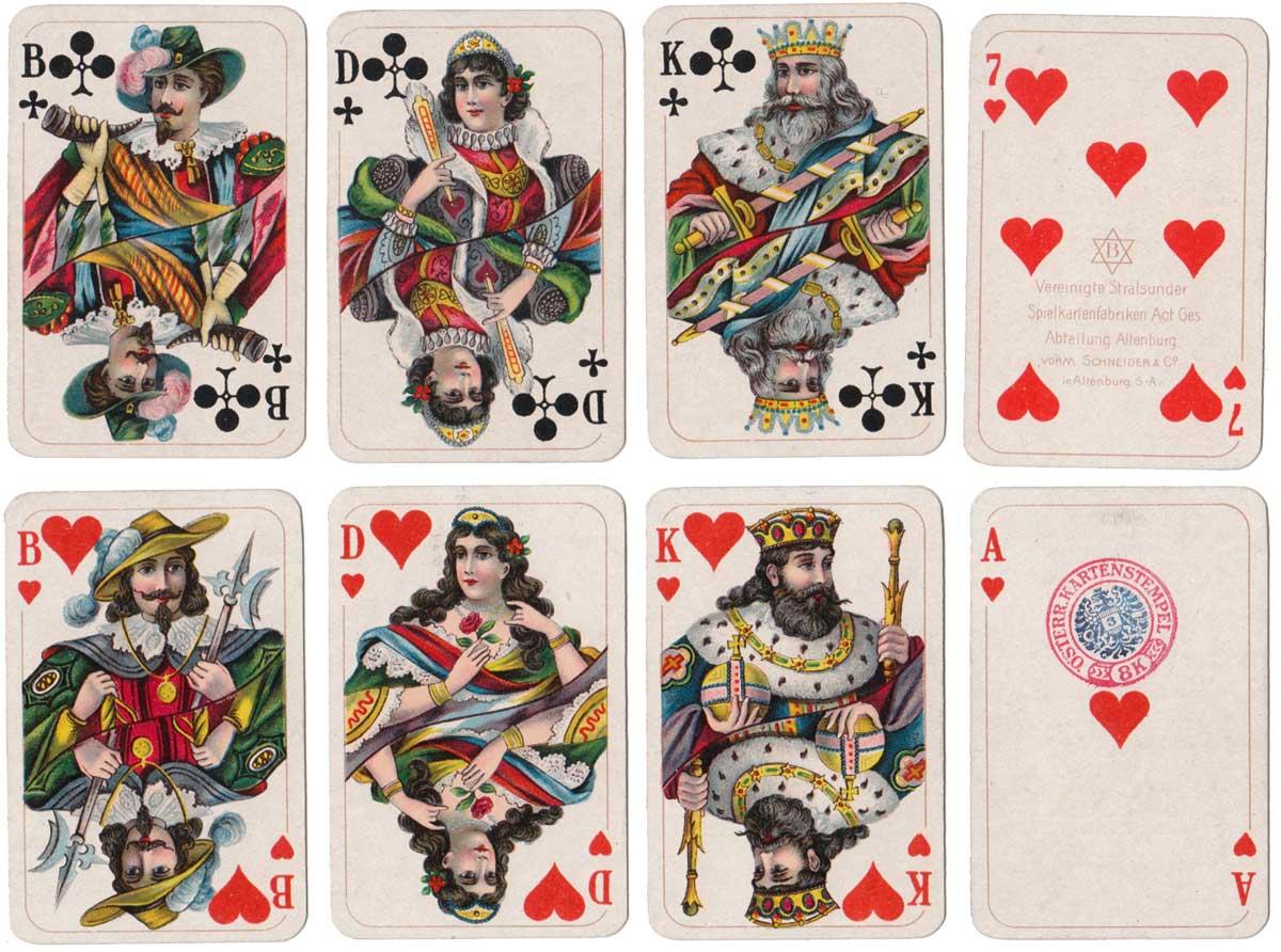 52 card pack by Vereinigte Stralsunder Spielkartenfabriken with Austrian tax stamp for 1920-1925