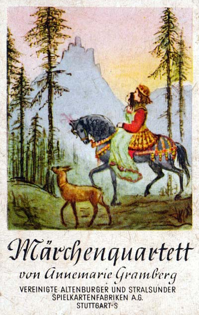 Märchenquartett designed by Annemarie Gramberg, published by Vereinigte Altenburger und Stralsunder Spielkarten-Fabriken AG, 1955