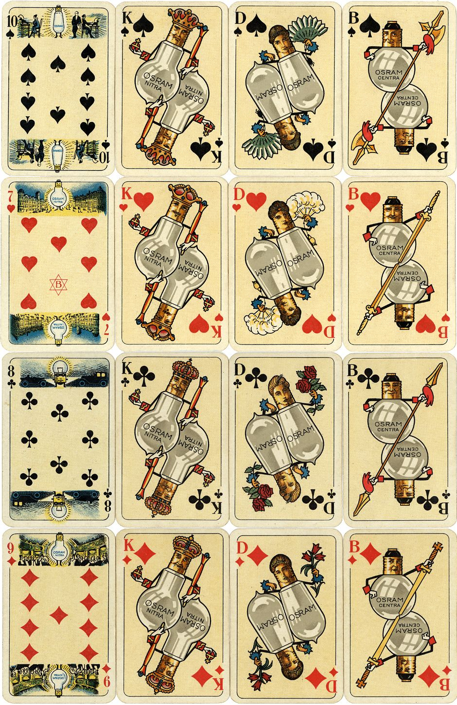 Osram advertising playing cards printed during the 1930s by Vereinigte Stralsunder Spielkartenfabriken (V.S.S.), Altenburg, Germany