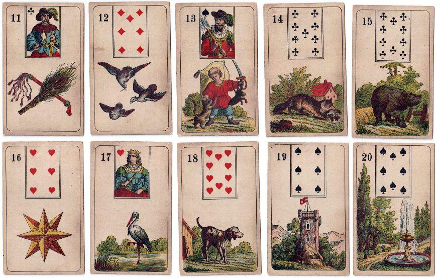 Mlle Lenormand Fortune Telling cards manufactured by Vereinigte Stralsunder Spielkartenfabriken, Stralsund, c.1890