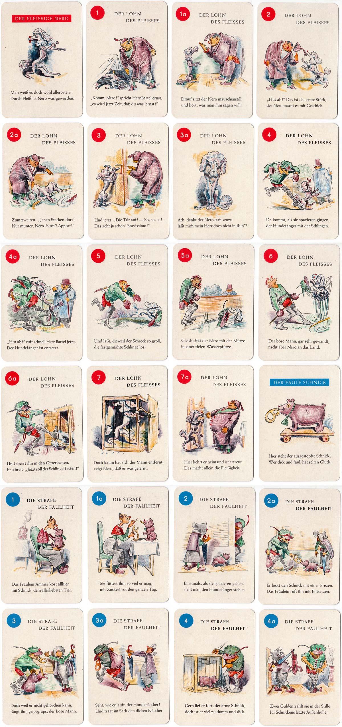 """""""Der Lohn des Fleisses"""" children's card game designed by Wilhelm Busch (1832-1908)"""