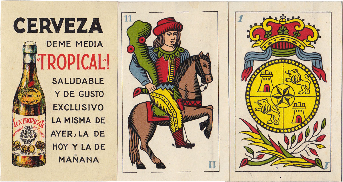 Wüst Spanish Cadiz pattern deck for export to Cuba c.1910-1920, advertising 'Tropical' beer