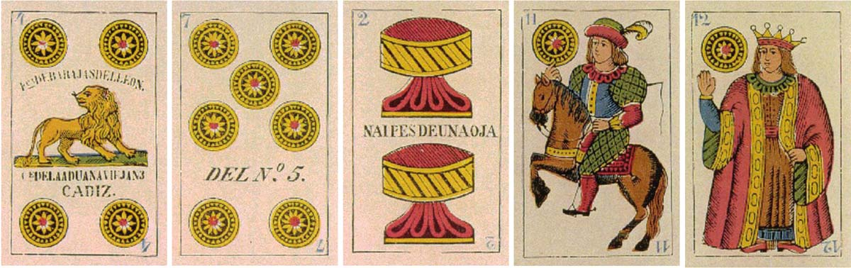 """cards from """"La Amistad"""" deck produced by Wüst for J. B. David in Cadiz, Spain, c.1880"""