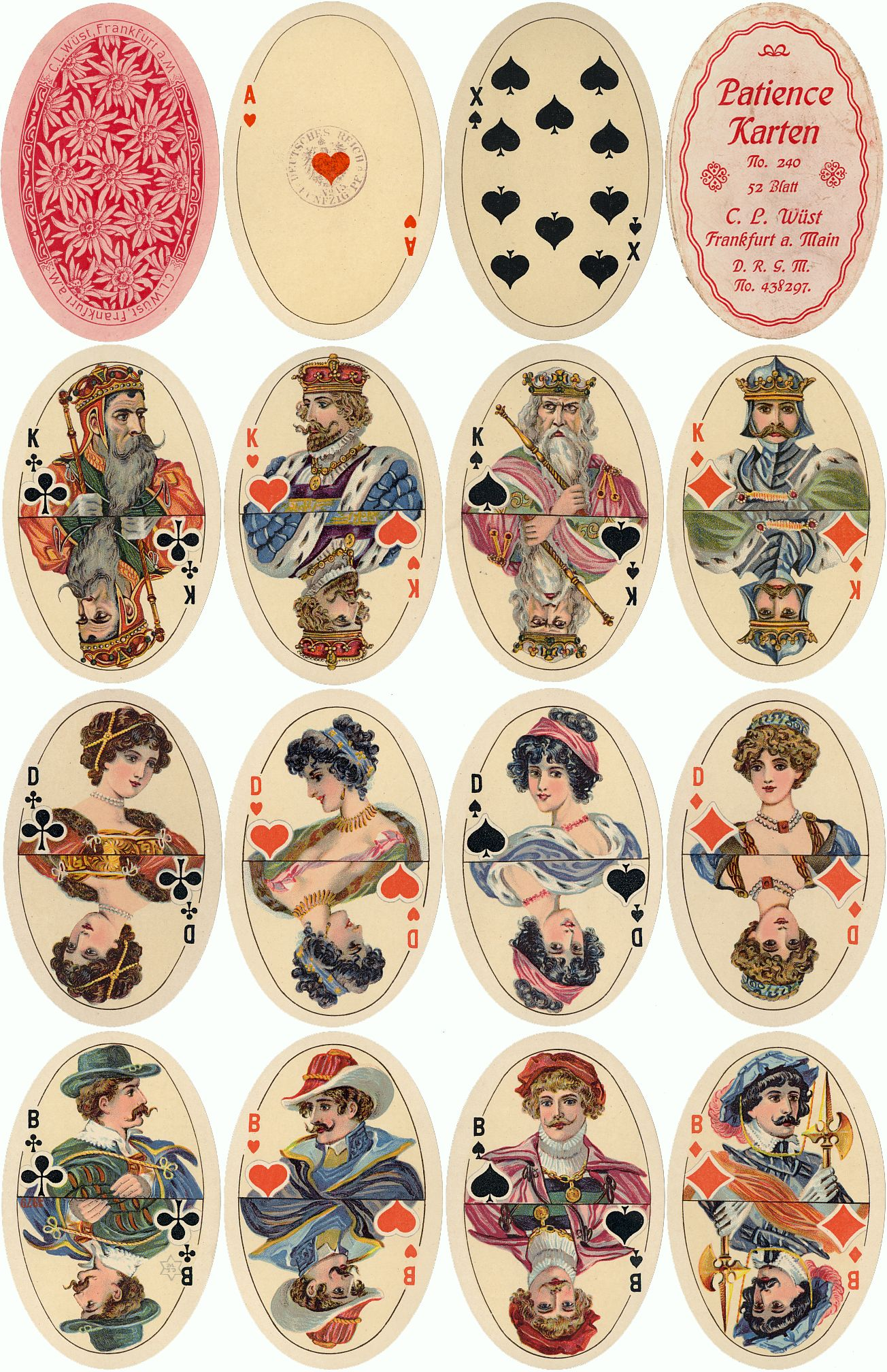 Oval Patience playing cards No.240 published by C. L. Wüst, Frankfurt am Main, Germany, c.1910-16