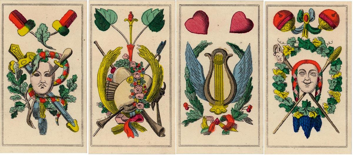Schiller deck made by Conrad Ludwig Wüst, Frankfurt/Main, ca. 1834