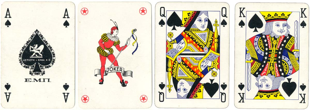 Standard Anglo-American playing cards manufactured by Aspioti-Elka of Athens