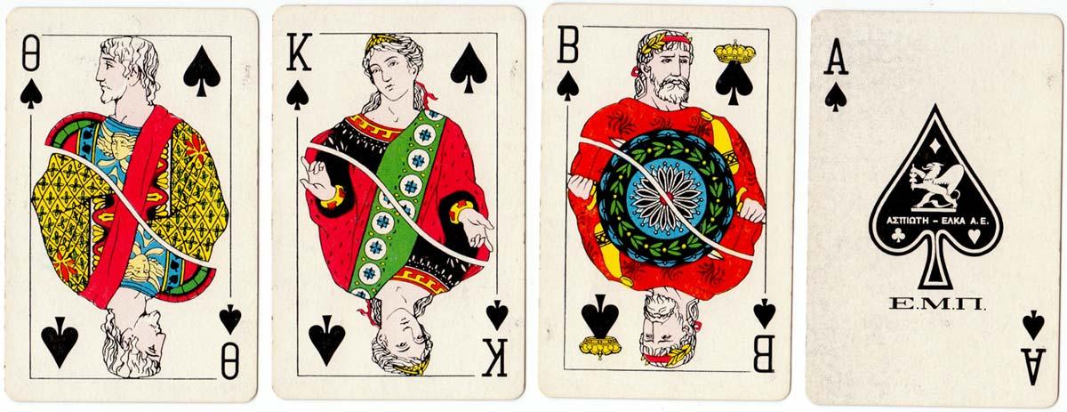 Greek playing cards manufactured by Grafika Teknai Aspioti-Elka of Athens