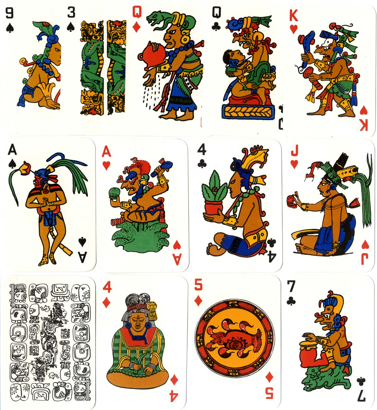 Mayan Mythology Playing-cards from Guatemala, printed by Litografía José Arimany Hijos