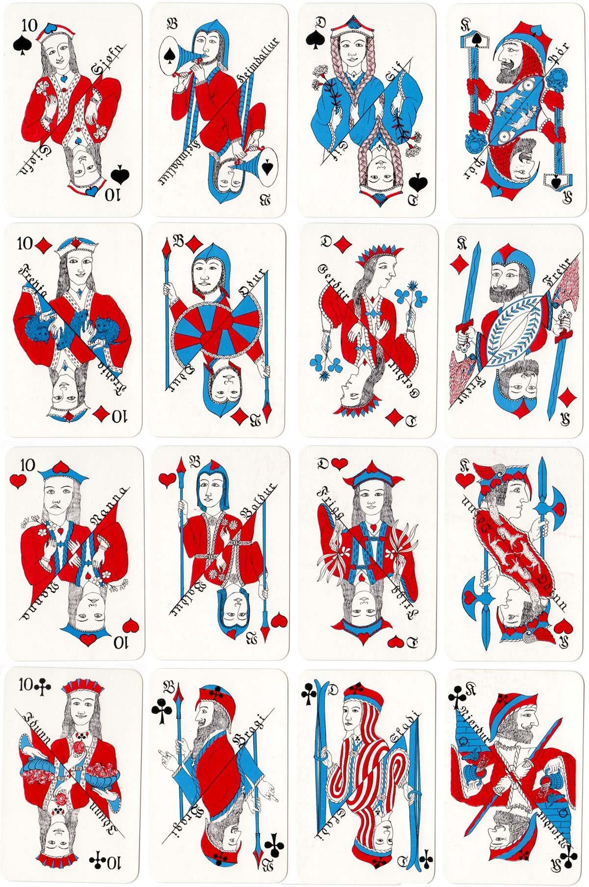 Icelandic Mythological Playing Cards manufactured by Handa, 1958