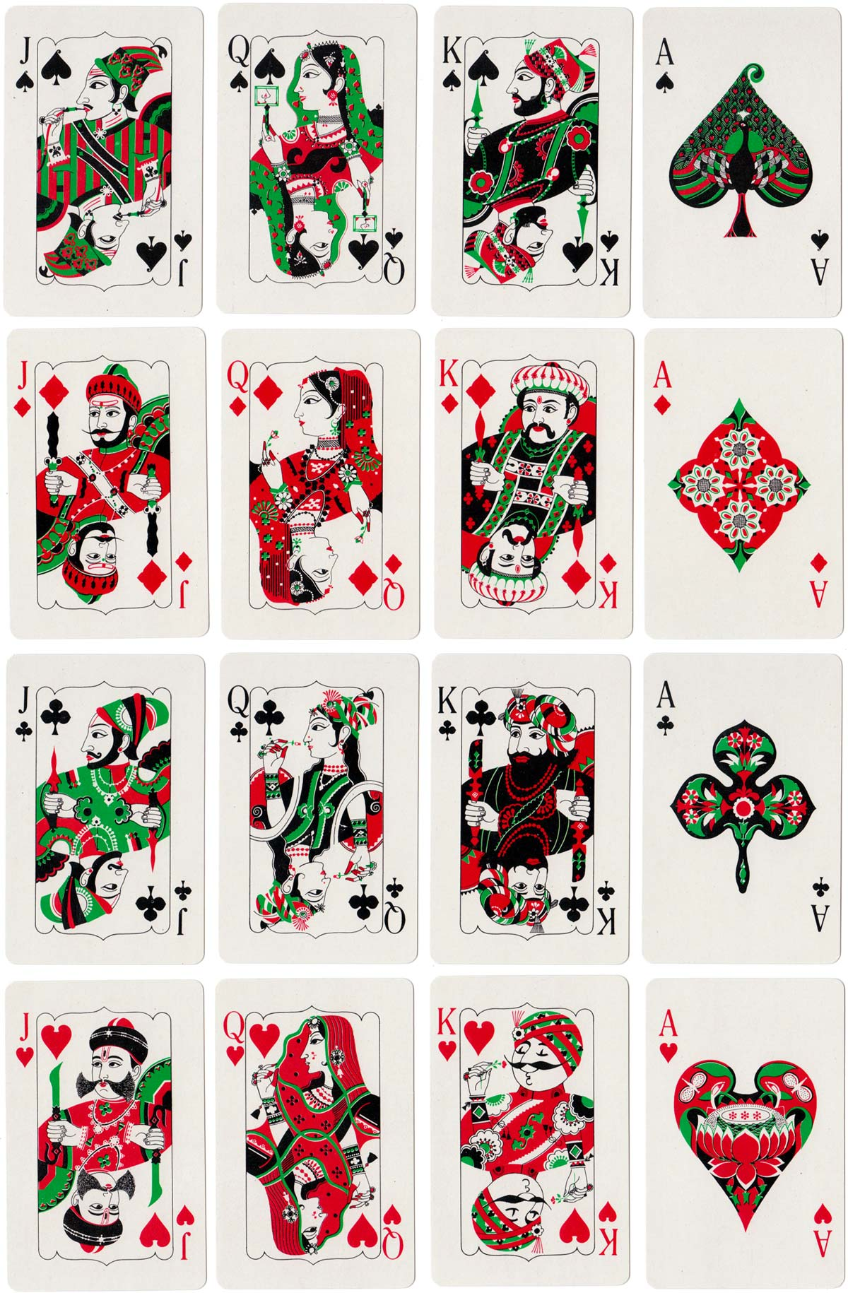 'Air India' playing cards, made in India by Playwell Playing Card Co., c.1980