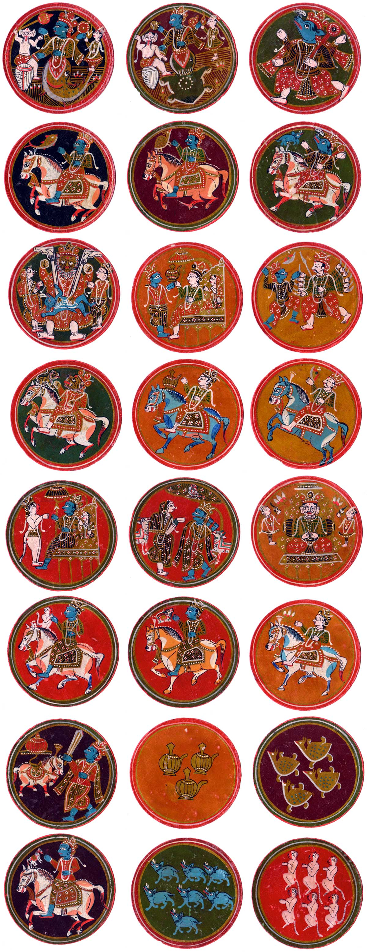 'Ganjifa' playing cards made in Sheopor in the North of Madhya Pradesh province in Central India
