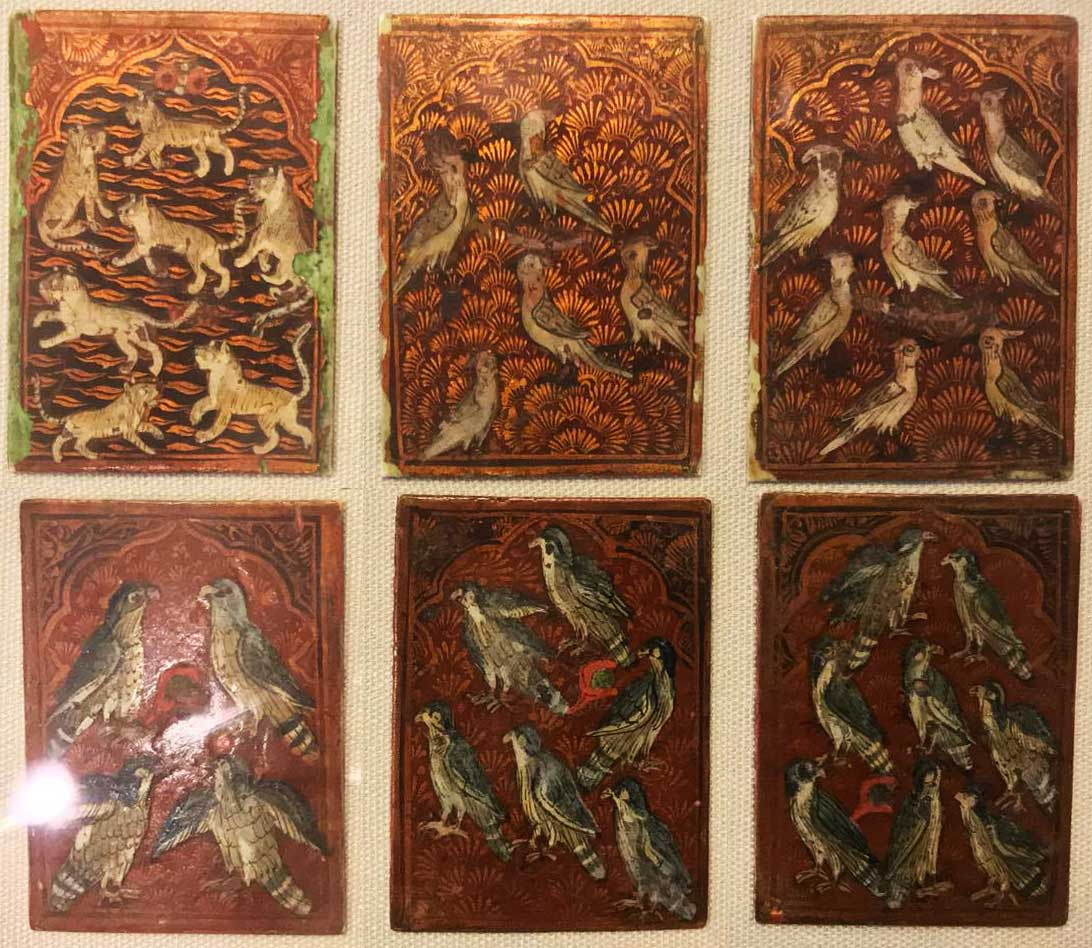 Qajar Dynasty playing cards, Iran, 19th century, lacquer on laminated paper