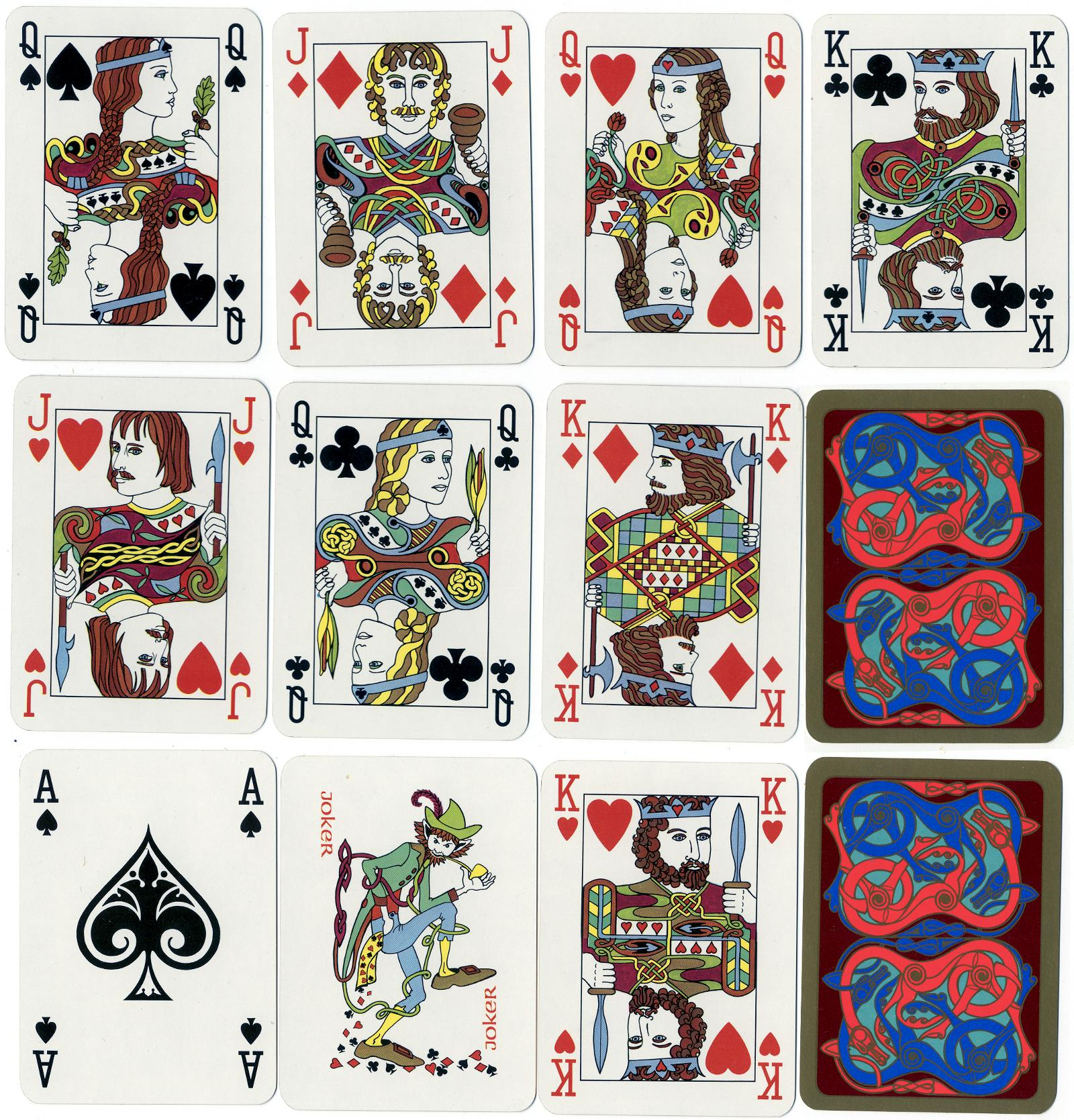 Playing card designs based on motifs from early Irish manuscripts and metalwork. Created and designed by Philip Murphy and Catherine Treacy