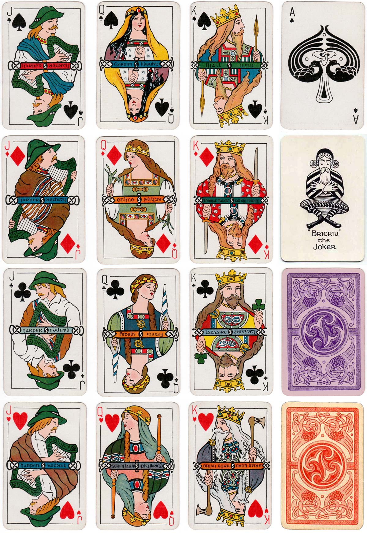 Irish Historic Playing Cards published by W & G Baird Ltd