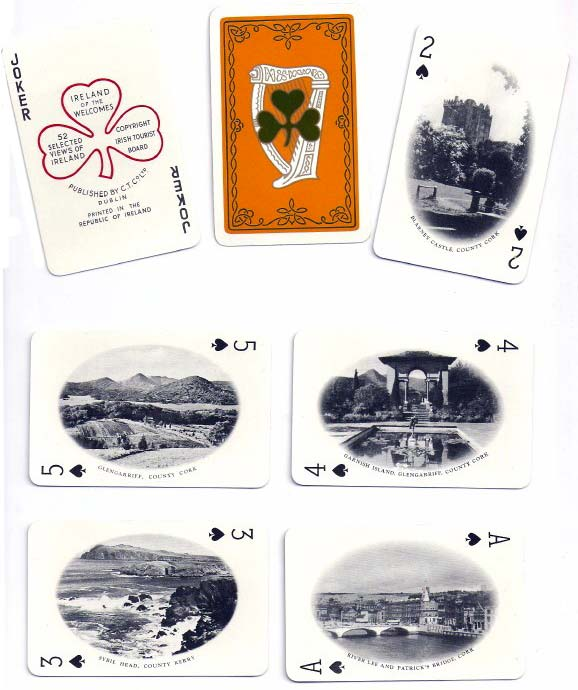 Selected views of Ireland Souvenir playing cards published by the Irish Tourist Board, F. H. Ltd, Dublin, later 1950s
