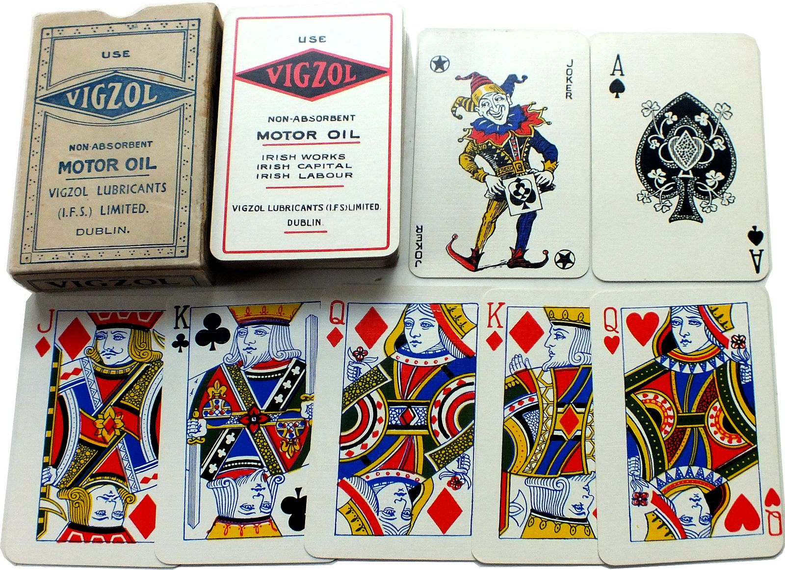 Vigzol Motor Oil advertising playing cards, c.1920s