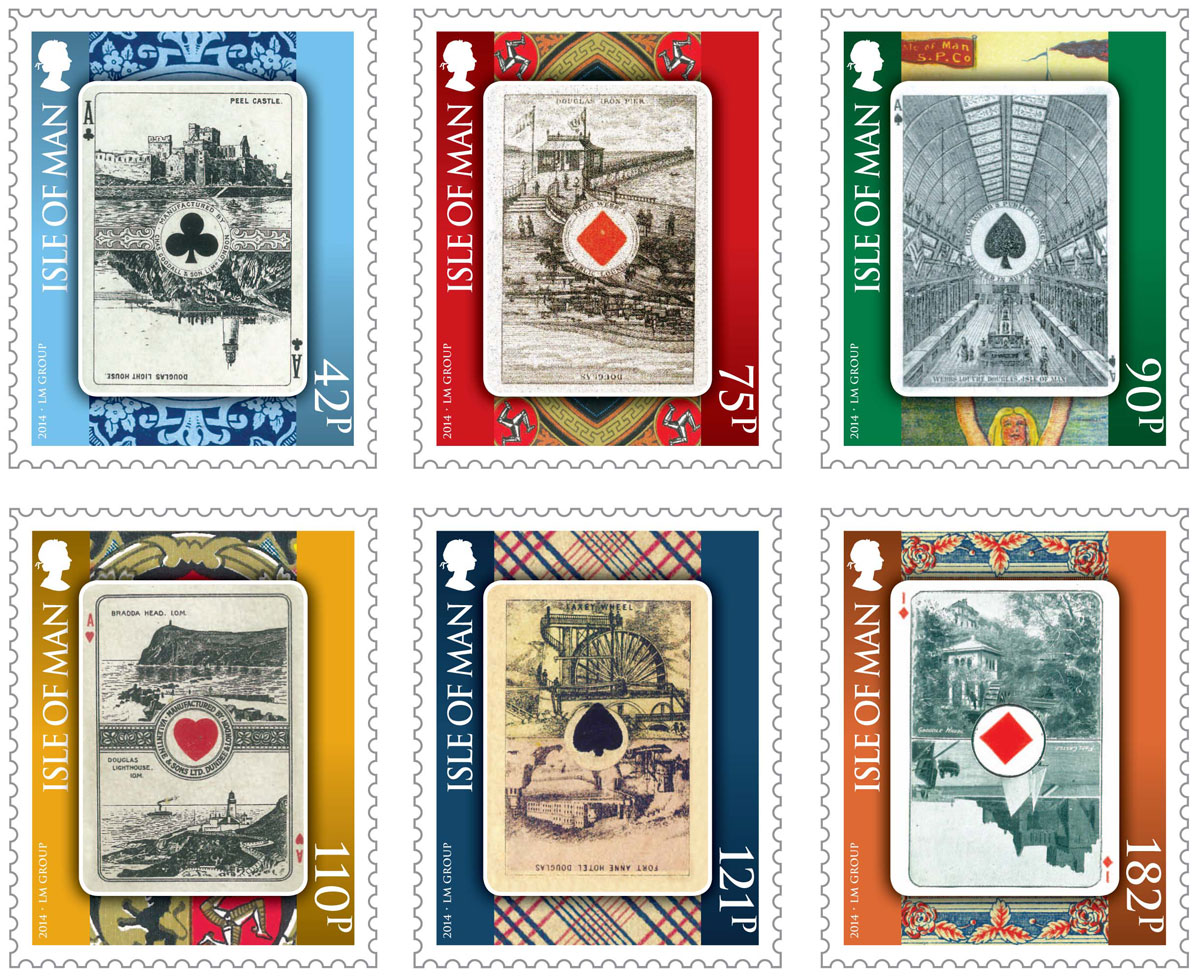 six full colour stamps issued by Isle of Man Stamps & Coins on 8th August 2014 featuring antique Isle of Man playing cards