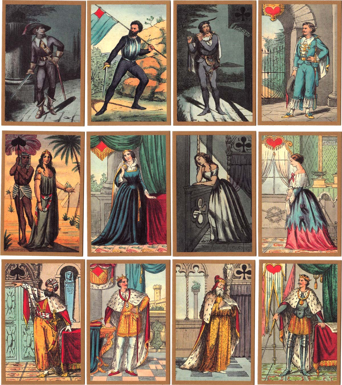 Transformation playing cards desgned by Adolfo Matarelli (1832-1877)
