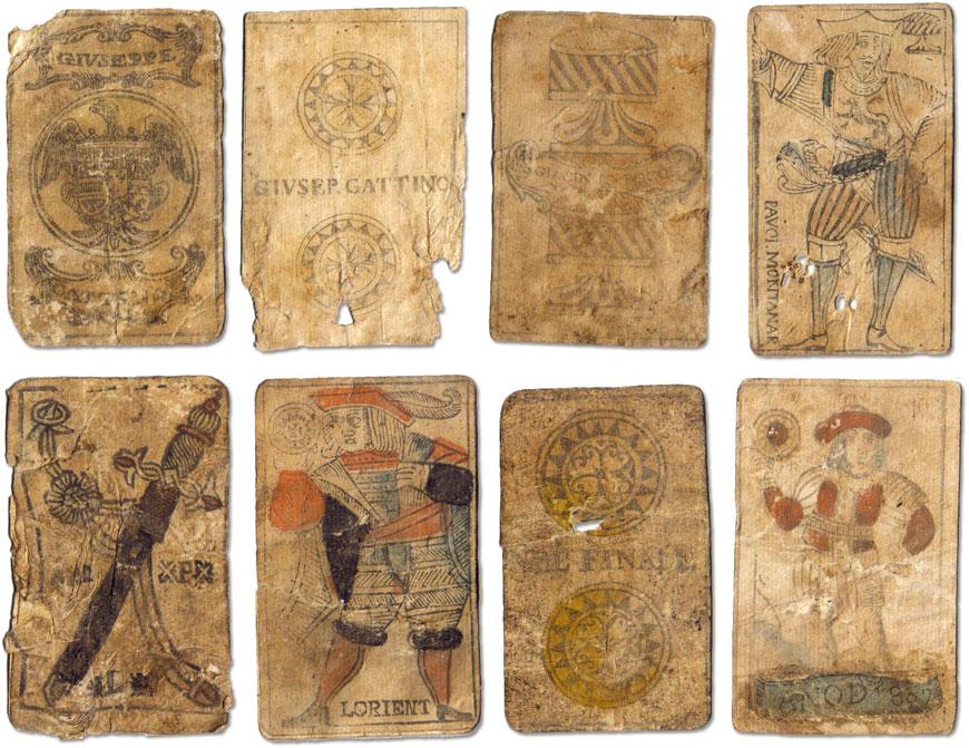 various 18th century Italian playing cards, Giuseppe Cattino, Paulo Montanar