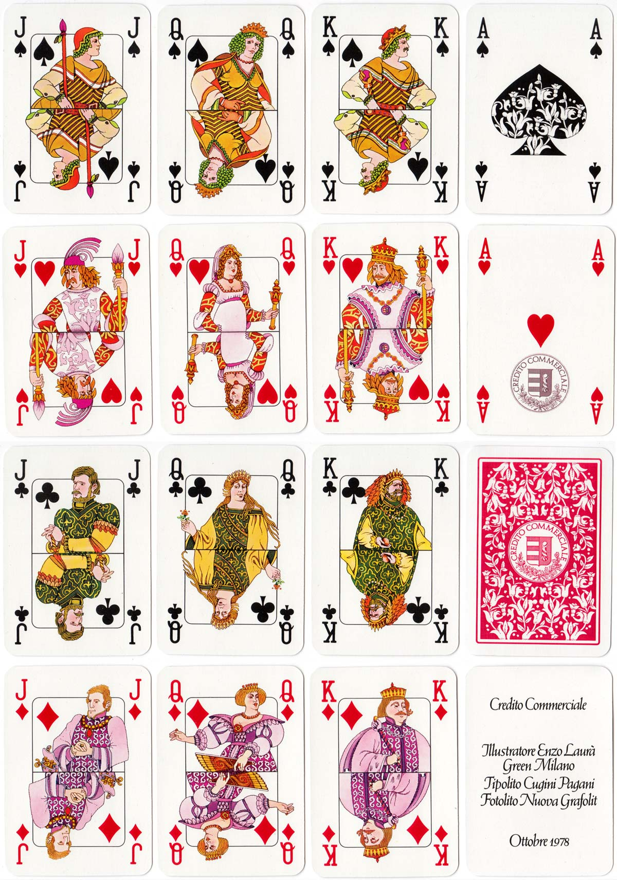 Playing cards designed by Enzo Laurà for Credito Commerciale, 1978