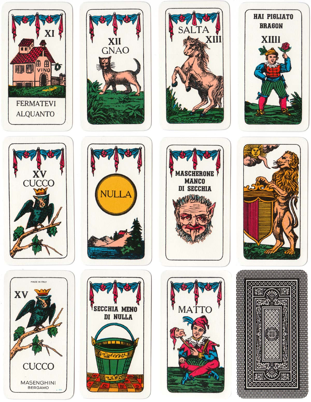 Cuccù or Cucco, an ancient Italian card game, published by Masenghini, 1979