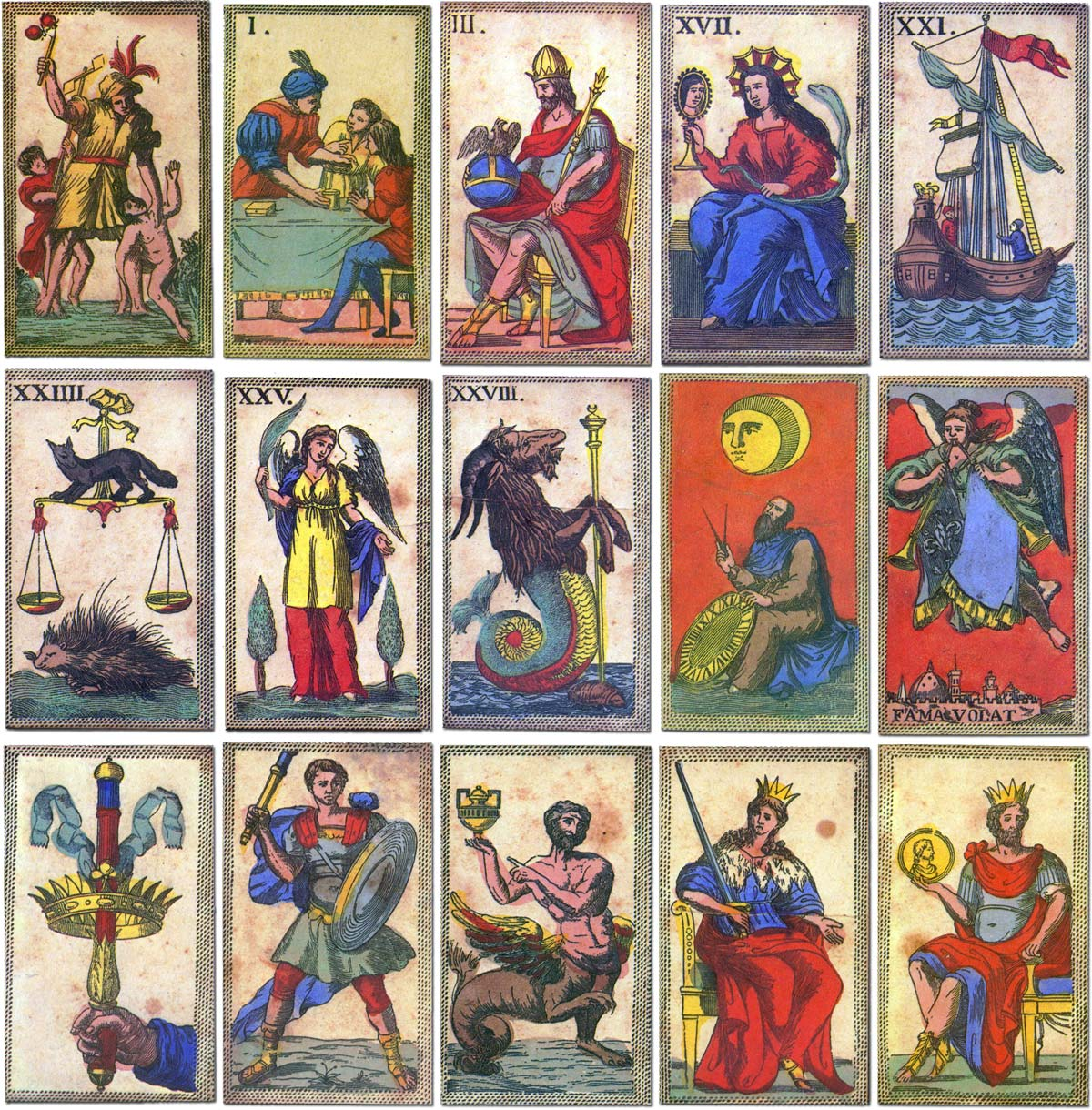 Minchiate cards originally published in Italy in 1850 and published as a facsimile by Il Meneghello, 1986