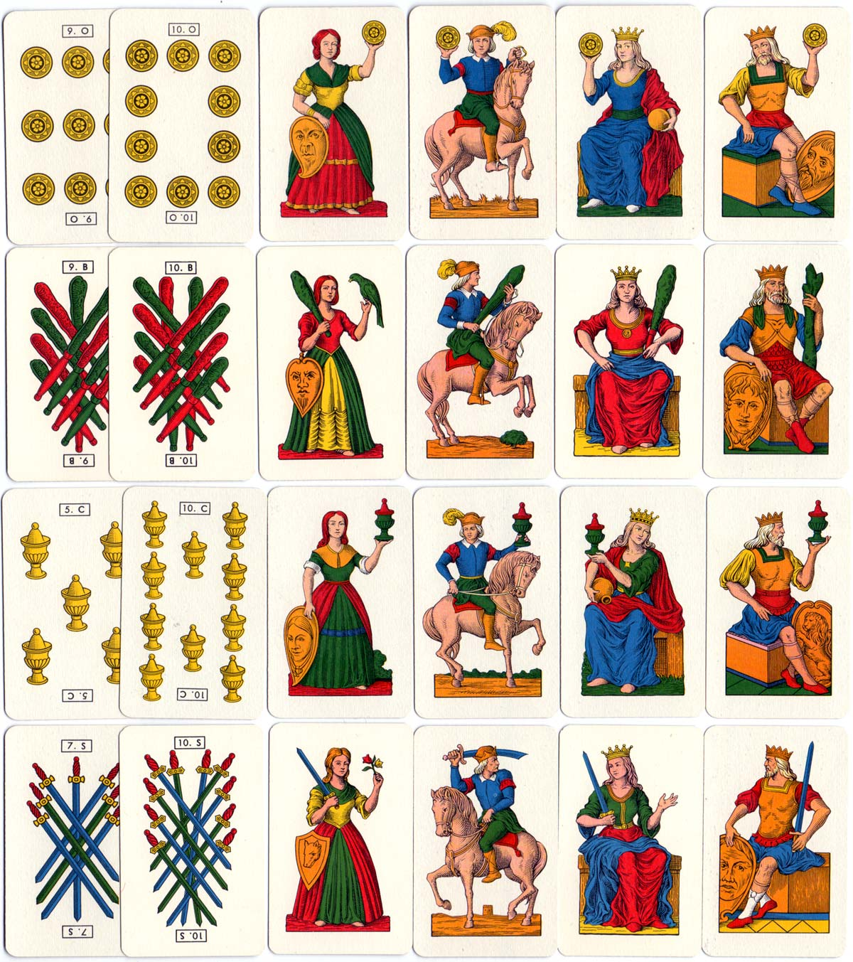 Court Cards from Tarocco Siciliano No.94 manufactured by Modiano S.p.A., Trieste, c.1960