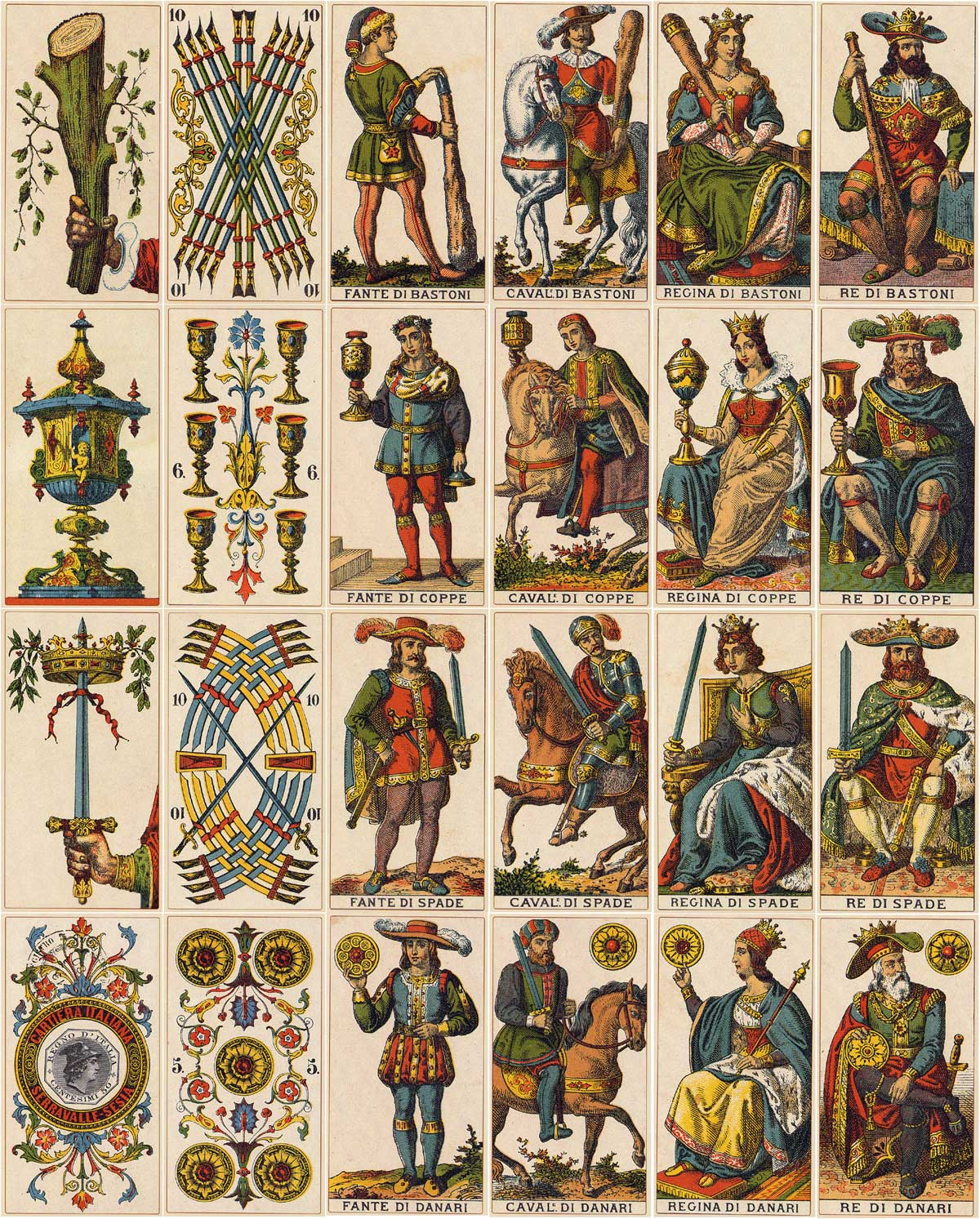 Serravalle-Sesia Tarot originally published by Fratelli Avondo, c.1880; facsimile edition by Lo Scarabeo, 2000