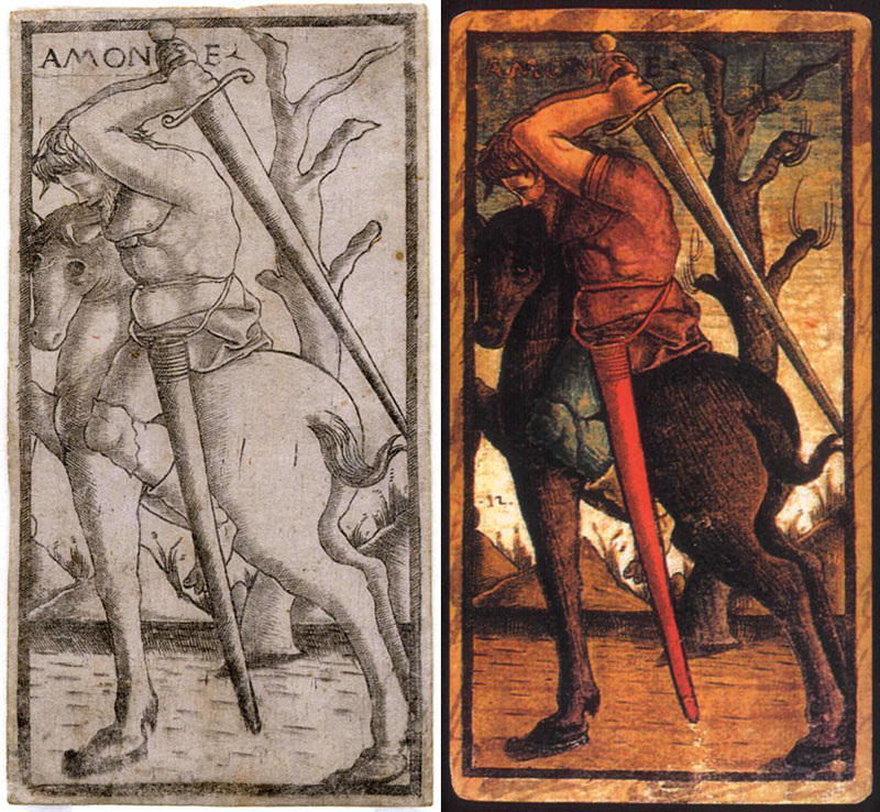 knight of swords, Sola-Busca Tarocchi, c.1490