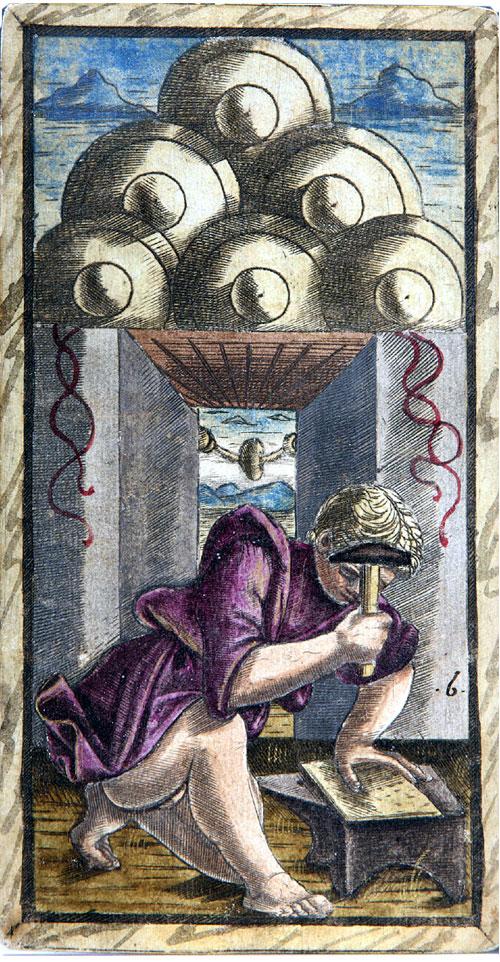 Six of Discs, Sola-Busca Tarocchi, c.1490