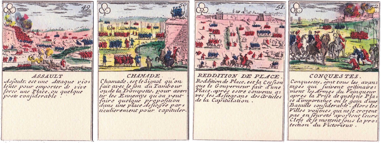 """Facsimile of """"Le Jeu de la Guerre"""" designed by Gilles de la Boissière in 1698"""