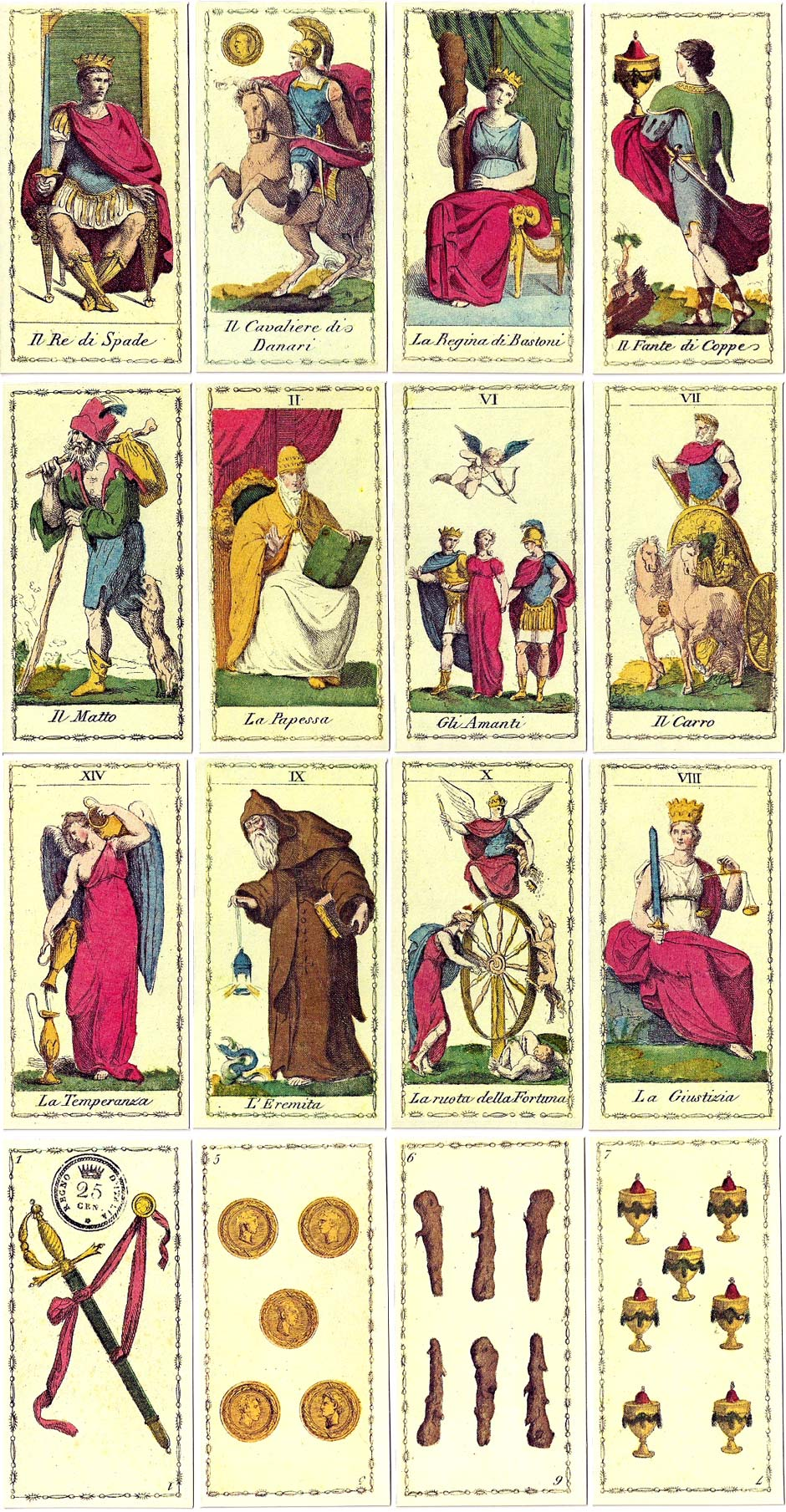 'Tarocco Neoclassico Italiano', based on an original engraved deck by Ferdinando Gumppenberg from c.1810