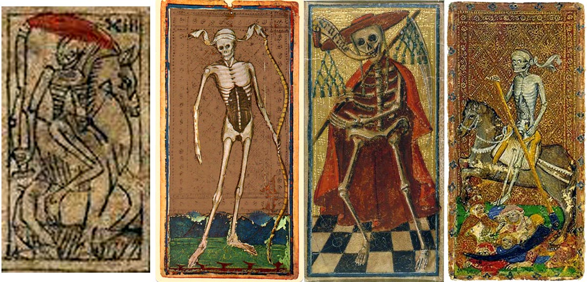 Four XV century tarot Death cards