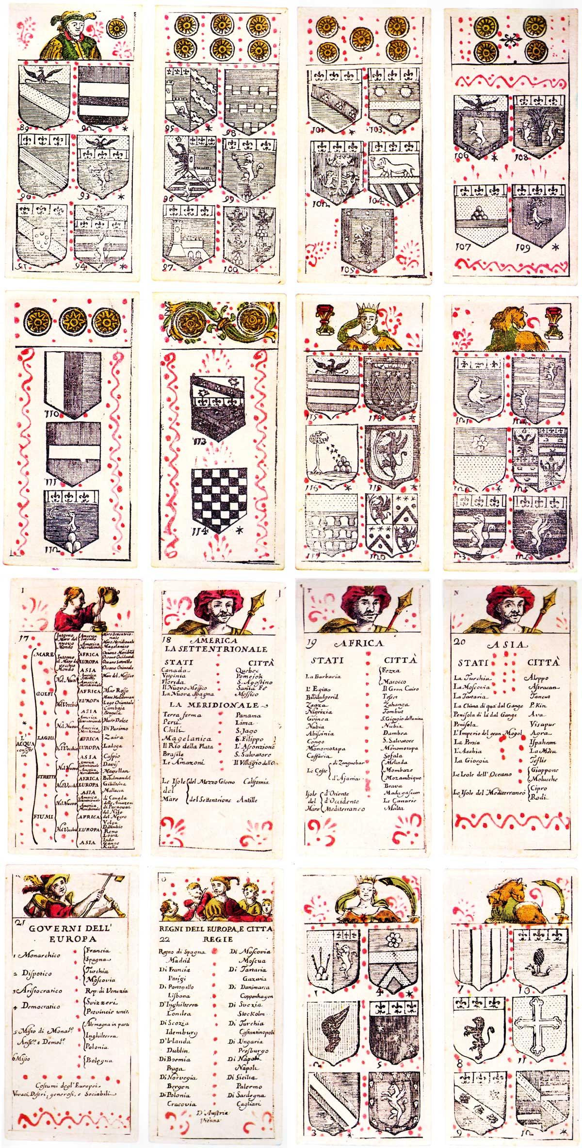 """""""L'Utile col Diletto, ossia geografia intrecciata nel giuoco de Tarocchi"""", a set of Geographical and Heraldic Tarocchi cards published in Bologna, 1725"""