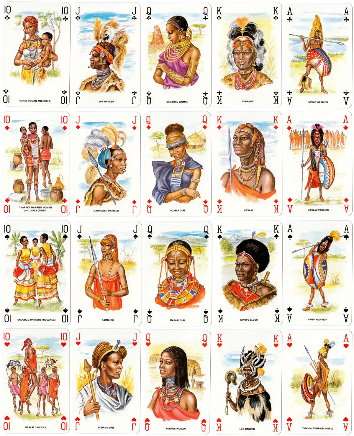 """Kenya Tribus"" playing cards published by Sapra, Mount Kenya Sundries Ltd, Nairobi, 1991"