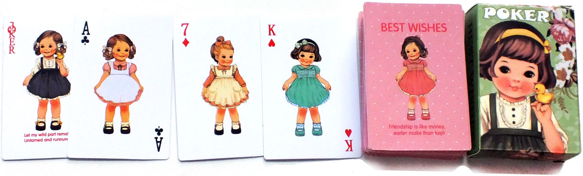 'Best Wishes Poker' miniature children's playing cards, anonymous manufacturer, Korea