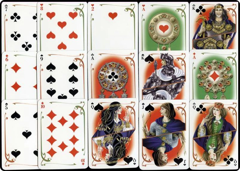 "Playing cards designed by artist Larisa Kovalass-Kovalevska on the theme of the Latvian folk epic ""Lāčplēsis""."