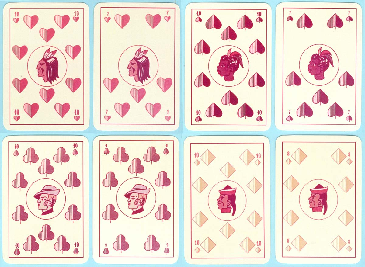 """Four Races"" playing cards designed by Vilnis Rasa in 1989, re-published by Jānis Mētra and printed by ""Orija"", Lithuania, 2015"