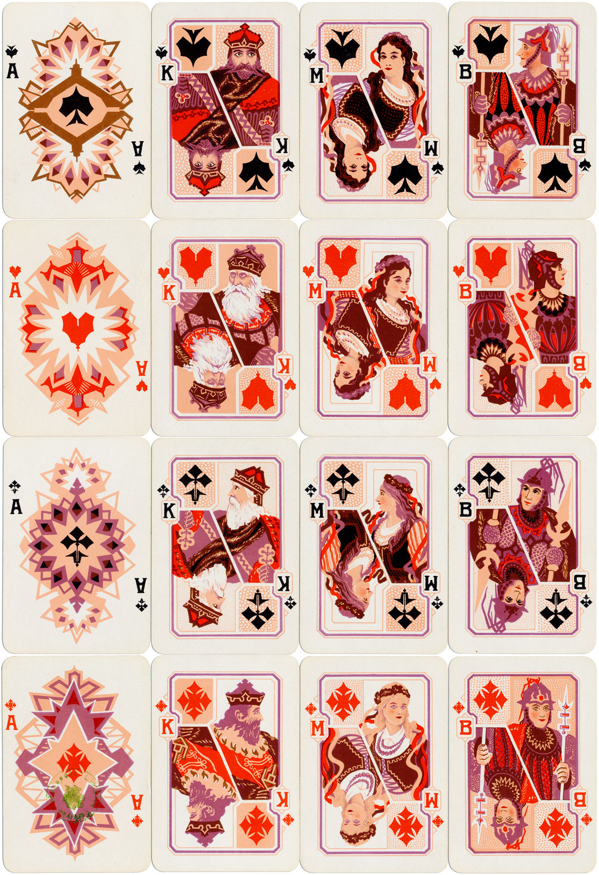 Gedimino Stulpai playing cards made by Spindulys Printing Co., c.1930