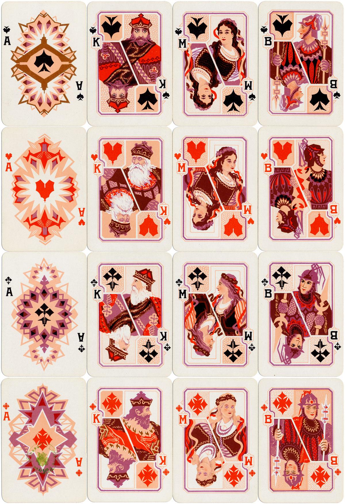 Gedimino Stulpai playing cards made by Spindulys Printing Co., c.1930