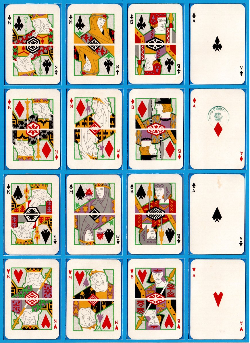 Klubams playing cards manufactured in Lithuania by Spindulys Printing House (Kaunas), c.1930