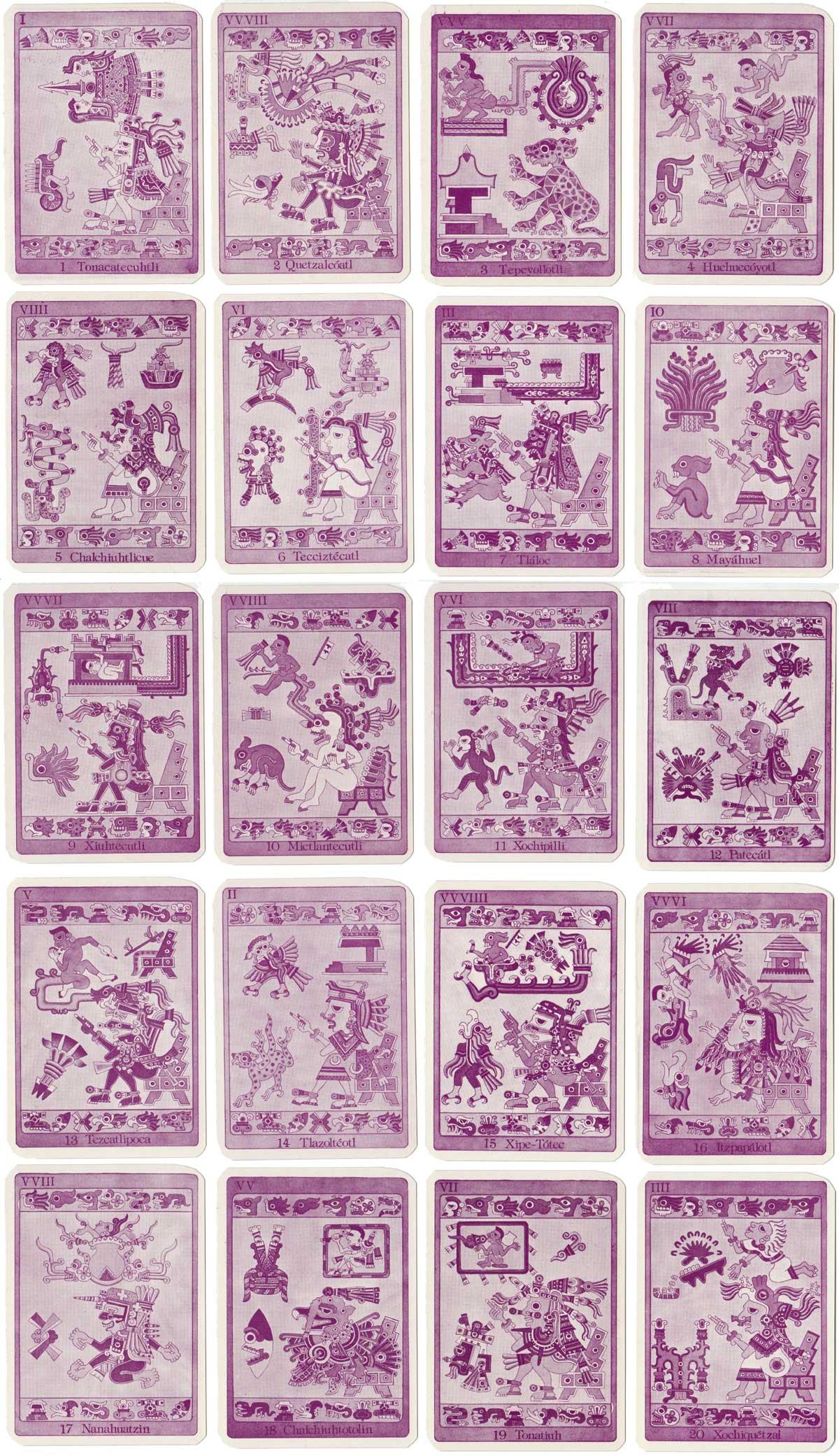 Baraja Tonalamatl Mexican Aztec playing cards based on the prehispanic Codex Borgia manuscript
