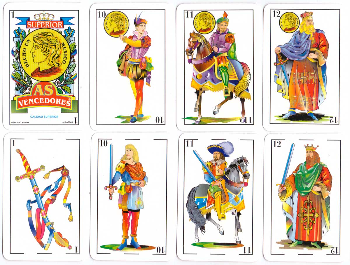 "naipes ""As Vencedores"" Mexican style playing cards by anonymous manufacturer, c.2002"